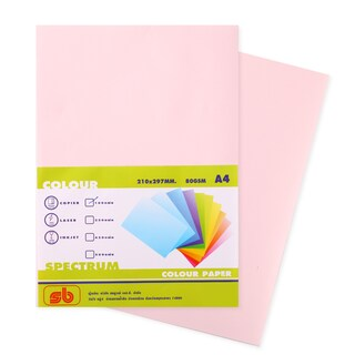 8 Color Copier Paper A4 80gsm. Pink (100/Pack) SB Spectrum