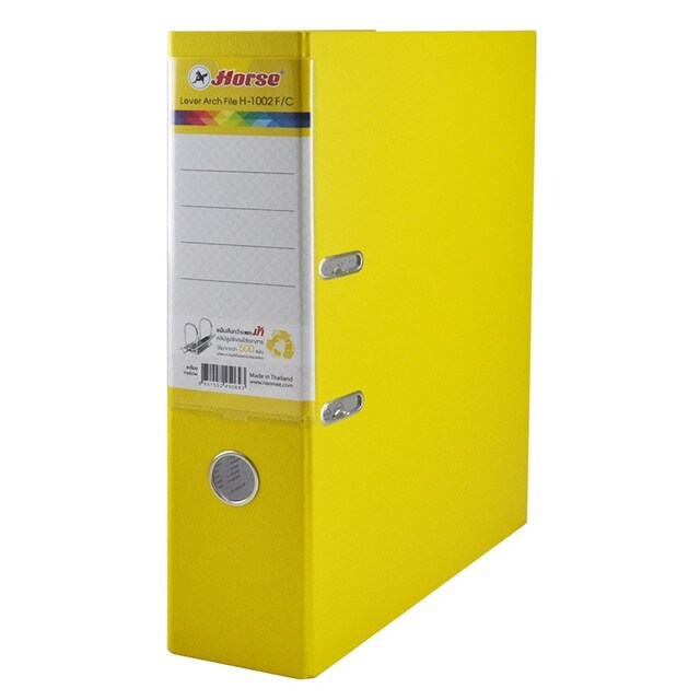 Horse 1002F/YL Lever Arch File F4 3-Inch Spine Yellow 3/Pack