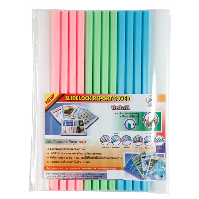 ORCA Clear Report Cover Binding Bar A4 10 mm. Asst. Colors 12/Pack