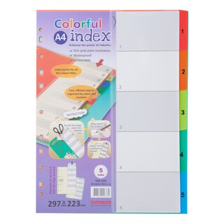 Databank VID-C05 Plastic Index Dividers 1-5