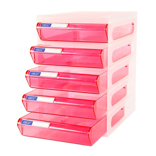 5-Drawer Chest with White - Pink Construction ORCA CFA5