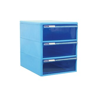 ORCA TCB-3BB 3-Drawer Chest with Blue-Blue Construction