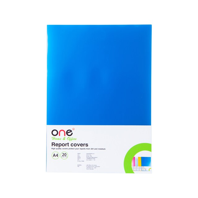 Plastic Report Cover A4 Blue (20 Sheets/Pack) ONE