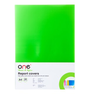 Plastic Report Cover A4 Green (20 Sheets/Pack) ONE