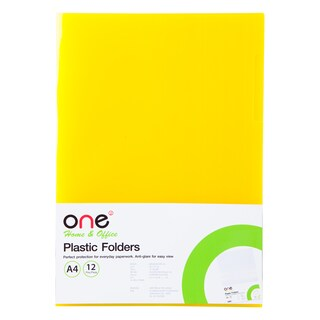 Plastic Folder A4 Yellow (12/Pack) ONE