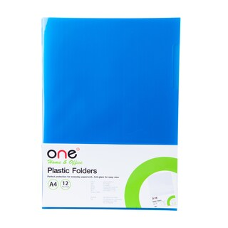 Plastic Folder A4 Blue (12/Pack) ONE
