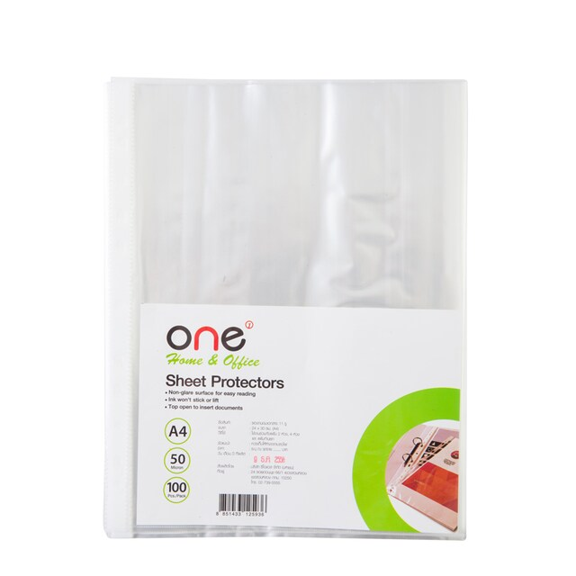 11 Hole Sheet Protectors A4 (100/Pack) ONE