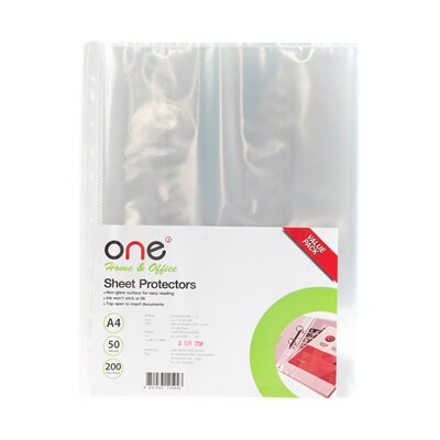 11 Hole Sheet Protectors A4 (200/Pack) ONE