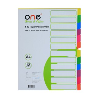 Index Divider 12 Tabs Asst. Colors ONE