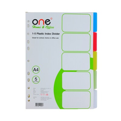 ONE Plastic Index Divider 5Tabs 5 Asst. Clear Colors (10Sheets/Set)