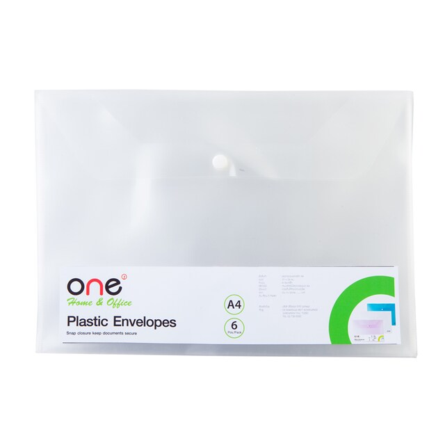 Plastic Envelope A4 White (6/Pack) ONE