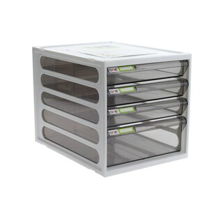 4-Drawer Chest with Clear Gray-White Construction ONE