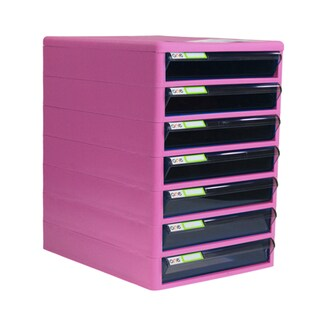 7-Drawer Chest with Clear Gray-Pink Construction ONE