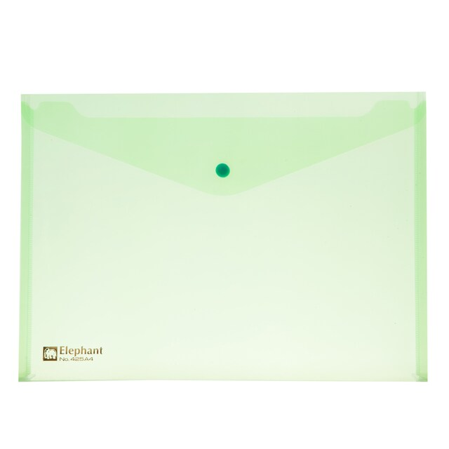 Plastic Envelope A4 Green (12/Pack) Elephant 425