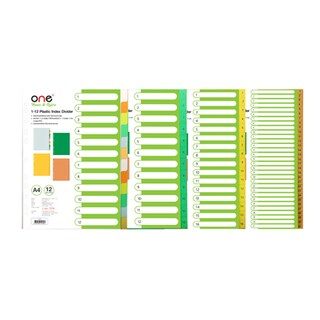 Plastic Index Divider (1-12) Asst. Colors ONE