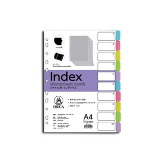 Plastic Index Divider 10Tabs Asst. Dark Colors ORCA BC-840
