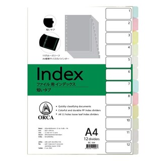 Plastic Index Divider 12Tabs Asst. Clear Colors ORCA BC-569