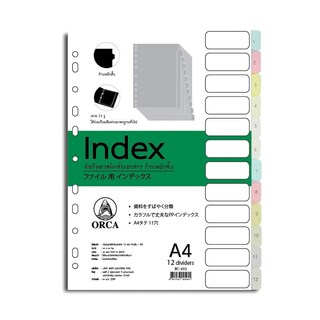 ORCA BC-653 Plastic Index Divider 1-12 12Tabs Asst. Clear Colors