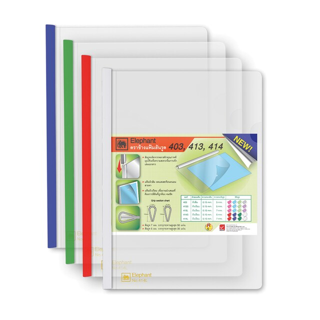 (414L) Clear Report Cover Binding Bar Asst. Colors (12/Pack) Elephant 414
