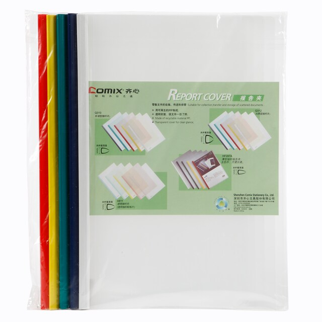 Clear Report Cover Binding Bar A4 Asst. Colors (5/Pack) Comix HF287A