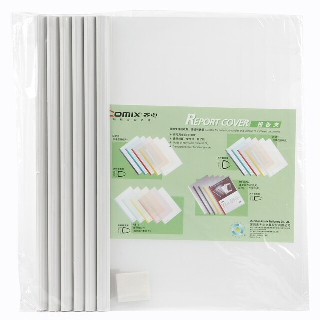 Clear Report Cover Binding Bar A4 White (6/Pack) Comix Q310