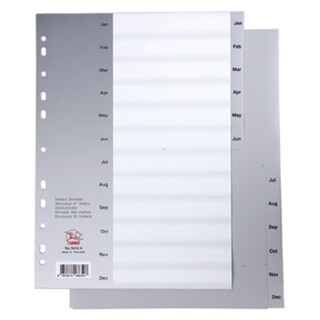 Flamingo 9434 Plastic Index Divider Jan-Dec Gray