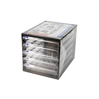 5-Drawer Chest with Clear White-Black Construction ORCA CFB-5