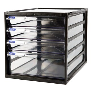 4-Drawer Chest with Clear White-Black Construction ORCA CFB-4