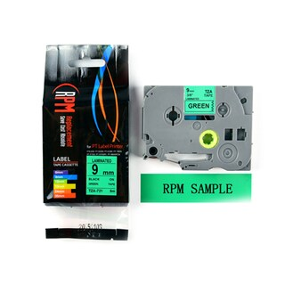 Label Tape 9mm Black on Green RPM TZA-721