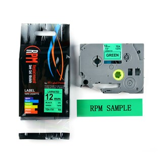 Label Tape 12mm Black on Green RPM TZA-731