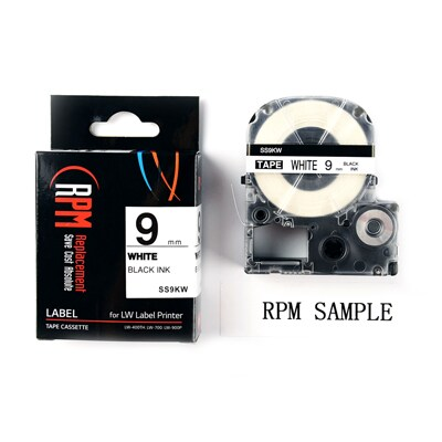 RPM SS9KW Label Tape 9mm. Black on White