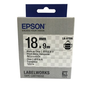 Label Tape 18 mm. Black On Clear Epson LK-5TBN