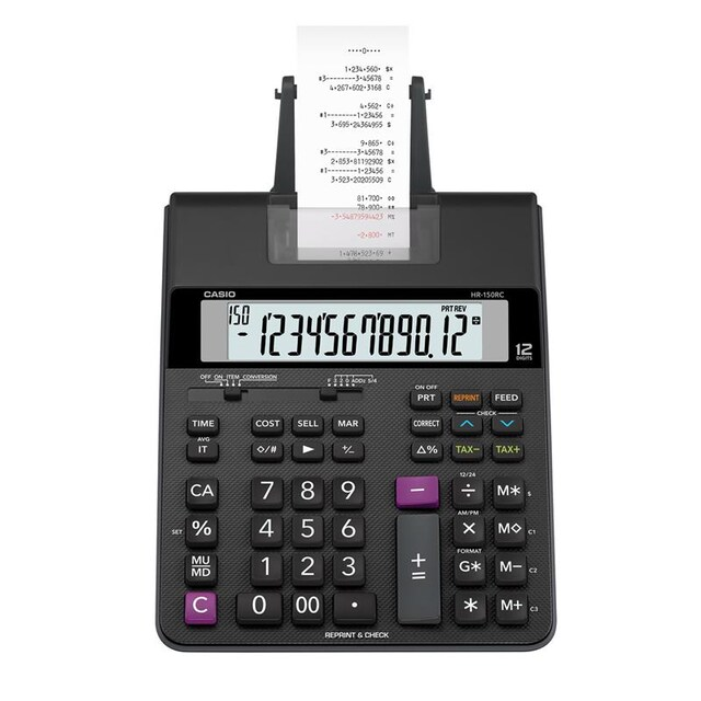 Casio HR-150RC+AD Printing Calculator Black