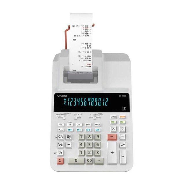 Calculator White Casio DR-120R-WE-E-DC