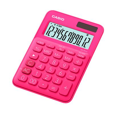 Casio MS-20UC-RD Calculator. Red-Pink.