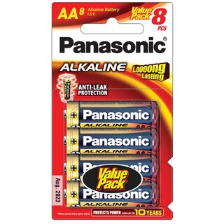 Panasonic LR6T/8B Alkaline Battery AA (8 Piece)