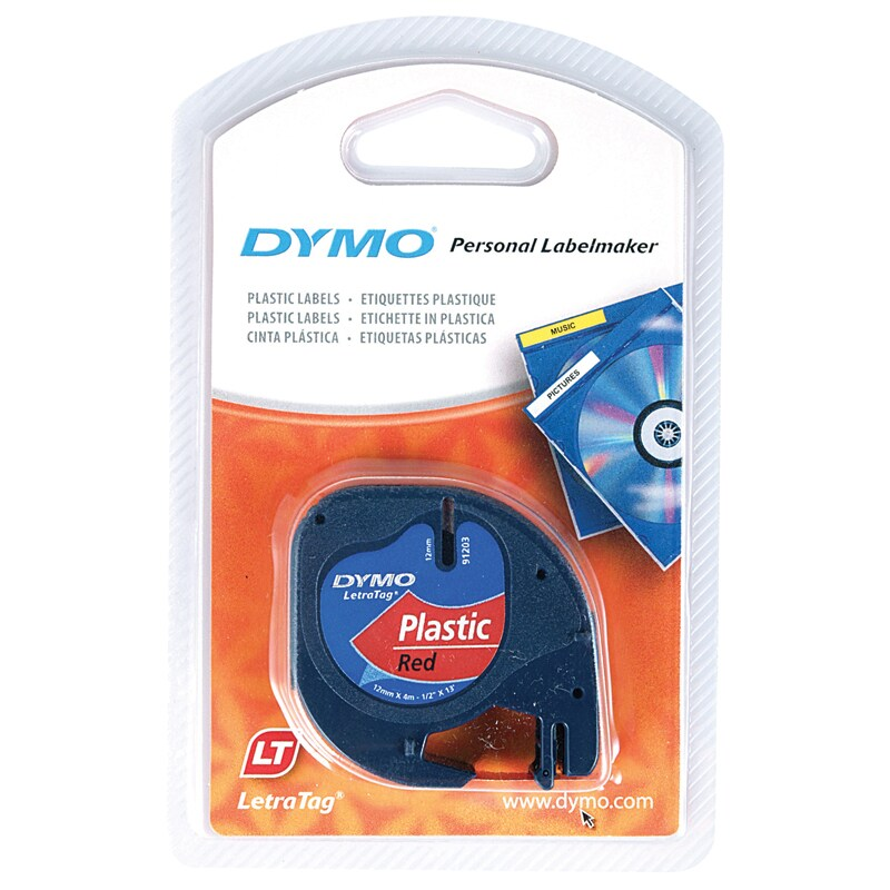 4 x tape cartridge 91205 blue plastic 12mm x 4m for DYMO LETRATAG label makers