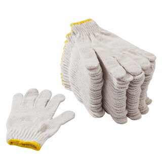 Unbleached Cloth Gloves Yellow Rim (12/Pack) พี.เค.