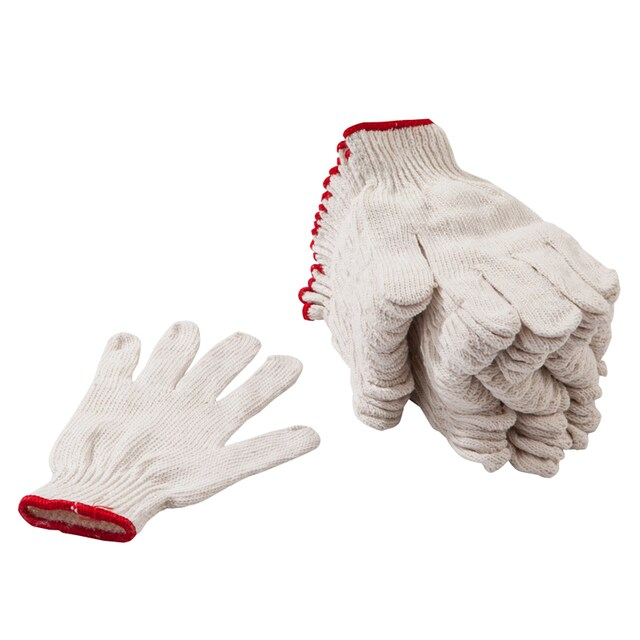 Unbleached Cloth Gloves Red Rim (12/Pack) พี.เค.