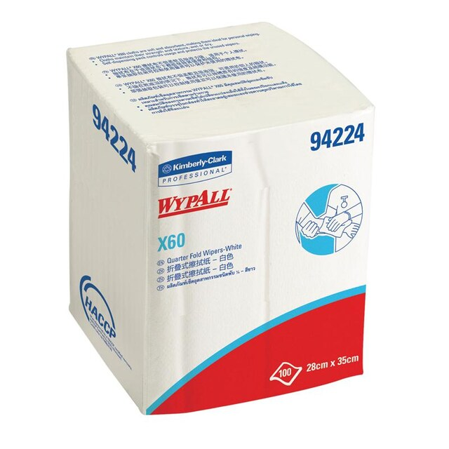 Industrial Wiping Paper White (100Sheets) Wypall X60 94224
